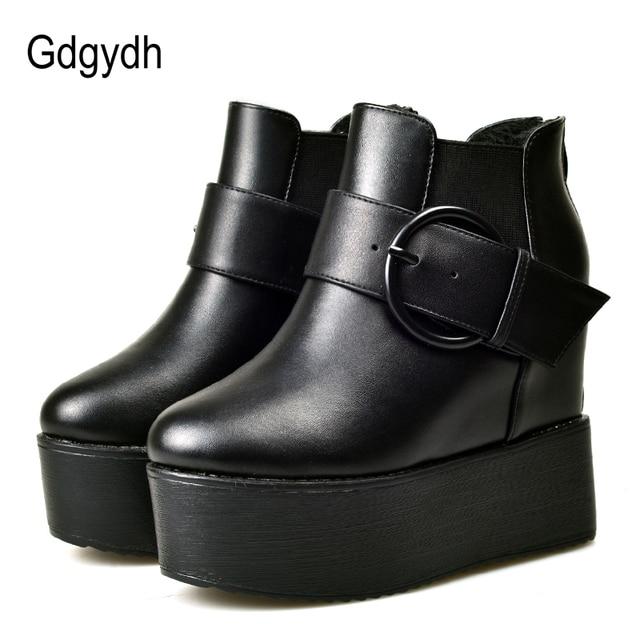 Gdgydh Moda Toka Kadın Platformu yarım çizmeler Yüksek Topuklu Geri Fermuar Bahar Sonbahar Takozlar Ayakkabı Kadın Kauçuk Taban Damla Gemi