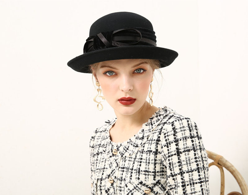 1e8aecec8c8 Fibonacci Fedoras Wool Felt Hat Female Flanging Velvet 8 Words Bow Dome  Fedora Hats for Women. 10 11 12 13 14 15 16 17 18 19 20