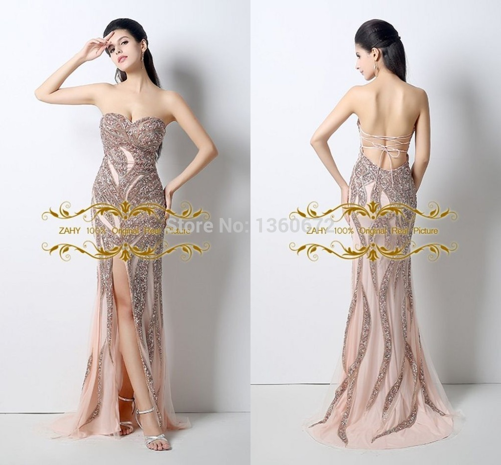 9f6ee4656e Sparking Design Sexy Backless Evening Dress 2017 ZAHY 100% Real ...