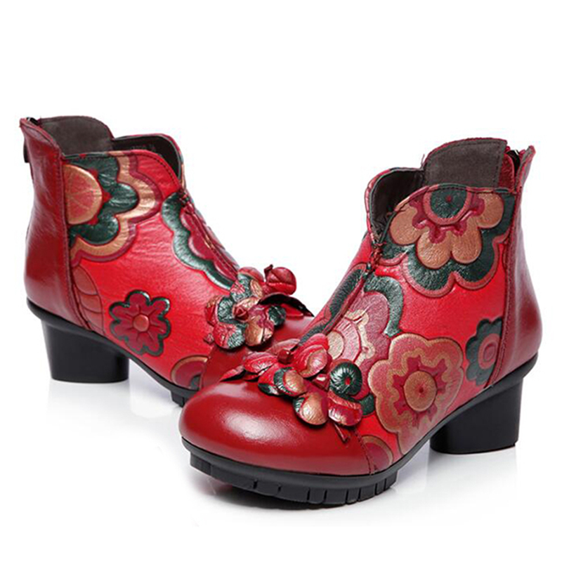 Femmes En Fleur Noir Hiver Chaussures Femme Zipper Cuir Botas Faible eYEW29DHI