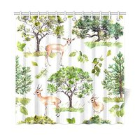 Green Spring Forest Trees Home Decor, National Park Deer Polyester Fabric Shower Curtain Bathroom Sets with Hooks 72 X 72 Inches