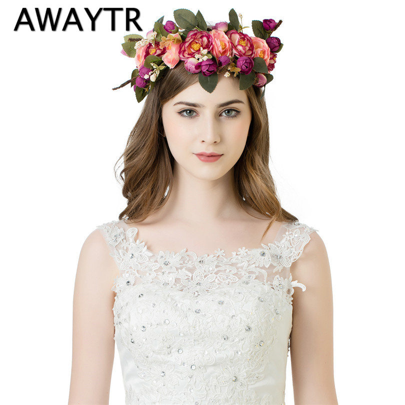 AWAYTR Handmade Woman Girls Artificial Flower Headband Party Wedding Fabric Flower Wreath Hair turquoise Flower Crown metting joura vintage bohemian ethnic tribal flower print stone handmade elastic headband hair band design hair accessories