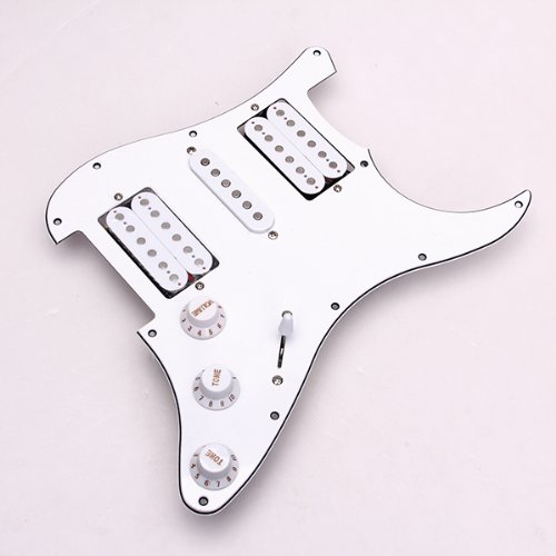 Loaded Prewired Electric Guitar Pickguard Pickups 11 Hole HSH White korean style lace up design slimming solid color personality button embellished narrow feet men s cotton blend parachute pants
