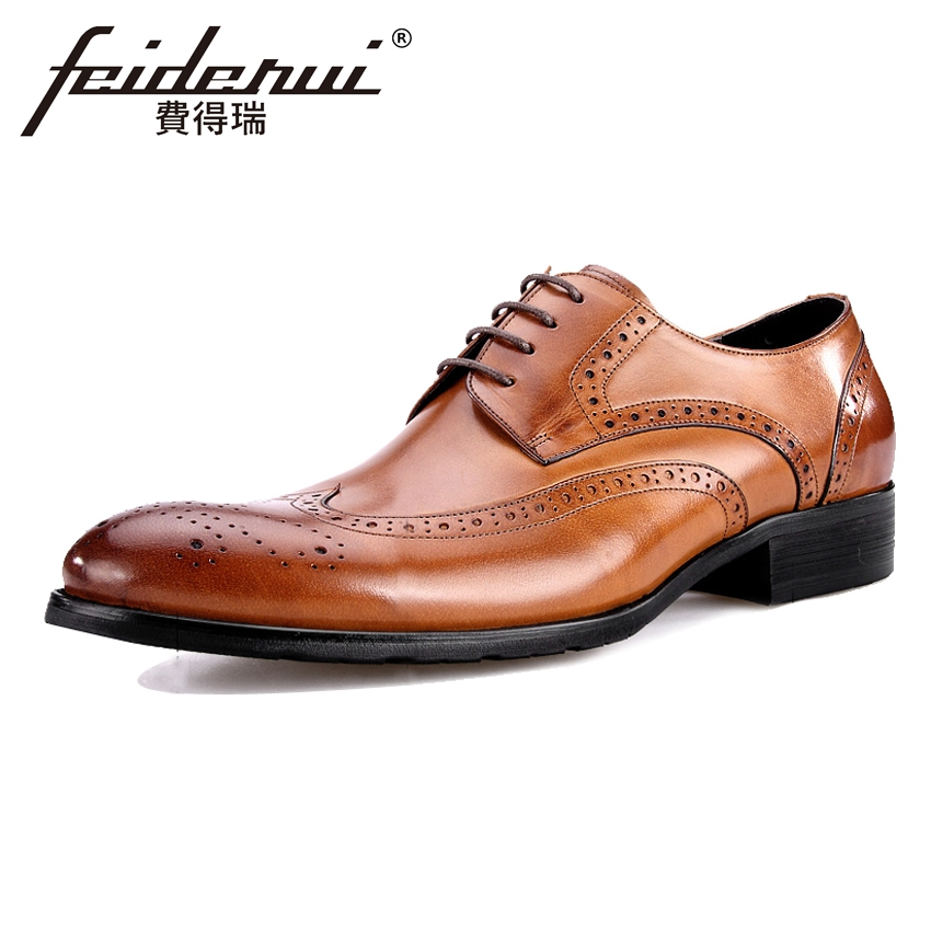 Vintage Genuine Leather Men's Wingtip Oxfords Formal Dress Round Toe Man Wedding Flats British Designer Male Brogue Shoes BQL54 цена