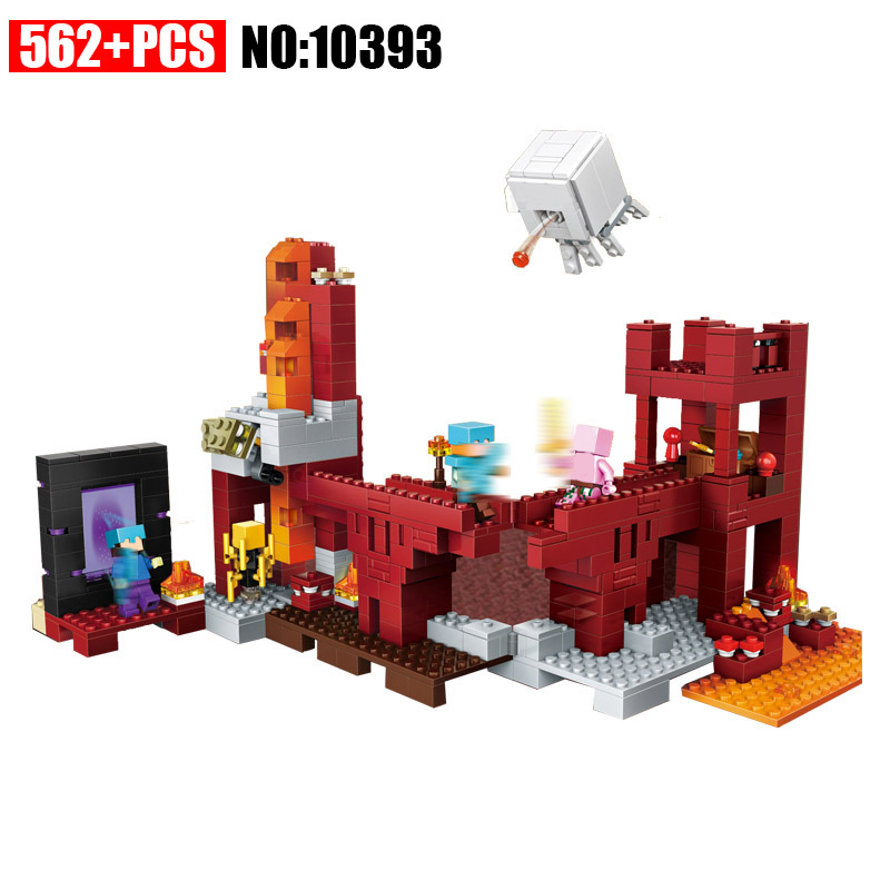 Bela 10393 my world The Nether Fortress model self-locking Building Block Classic Architecture toy for children compatible 21122 classic my world minecraft the nether fortress building blocks bricks enlighten toys for children kids lele bela 21122 legoingly