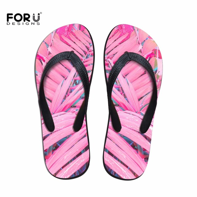 dded51945d12da FORUDESIGNS 3D Palm Trees Printed Women House Flip Flops Summer Slippers  Flats for Ladies Casual Female Beach Flip Flops Shoes