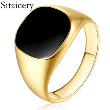 Sitaicery Gold Silver Plated Black Enamel Rings Men Vintage Ring Punk Classic Drip Imitation Stones Male
