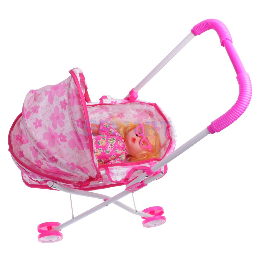 Plastic Doll Stroller w/ Baby Doll Children Play Pram Toy