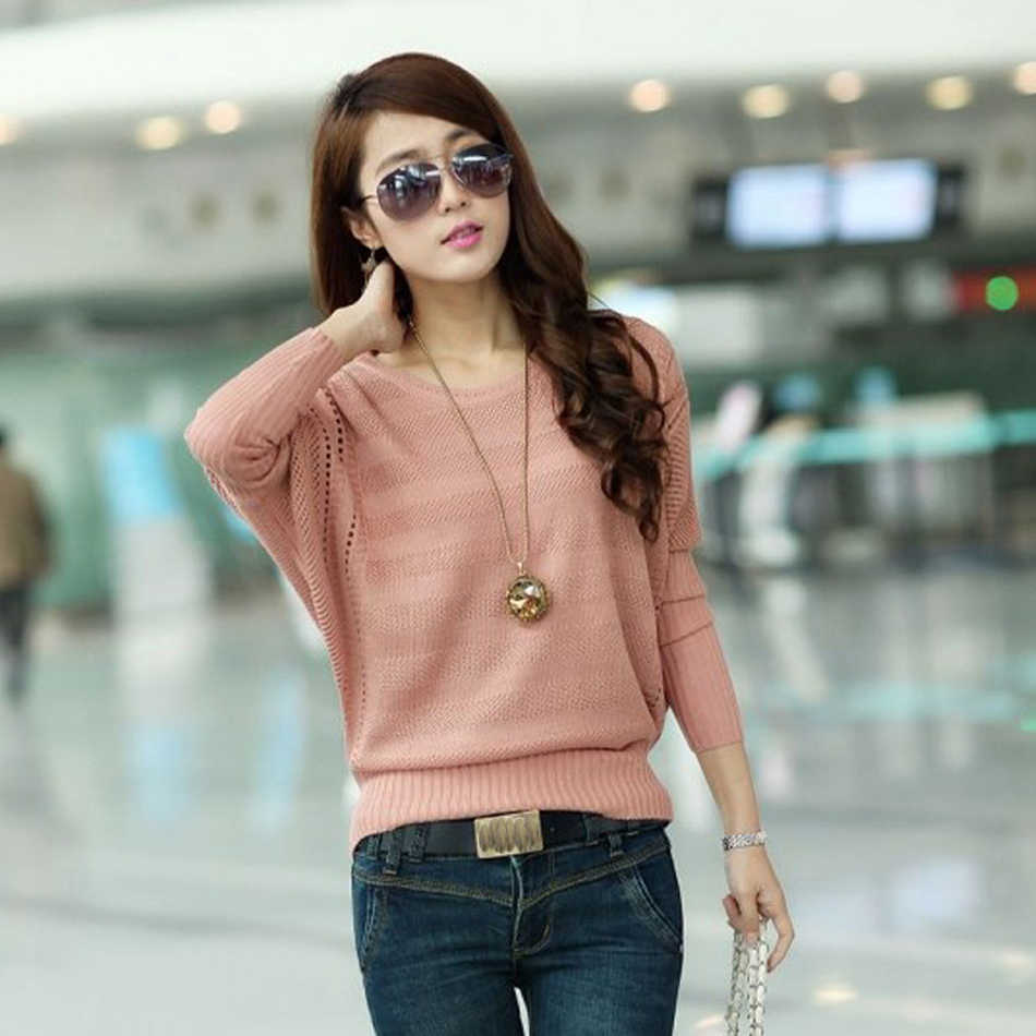 New Design Female Solid Hollow Out Knitted Sweater Long Batwing Sleeve Wear Casual Loose Knitted Pullover Women Autumn Jumper