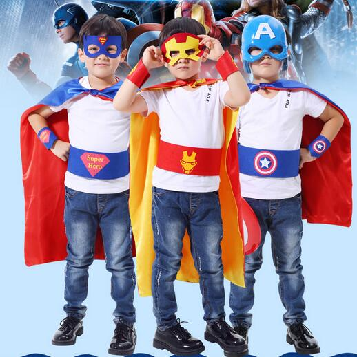 2017 Superhero Satin Capes with Masks Kids Superman Spiderman Capes Great for Child Party Costumes Cosplay  Christmas costumes