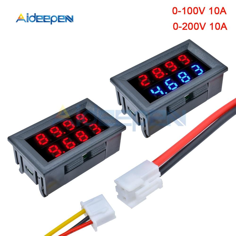 0.28'' Digital Voltmeter Ammeter 4 Bit 5 Wires DC 100V 200V 10A Voltage Current Meter Red Blue/Red Red LED Dual Display Amp Volt
