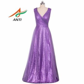 ANTI Robe De Soiree A-Line Lavender Long Evening Dress Party Elegant Vestido De Festa Long Prom Gown 2019 With Sequin Tulle