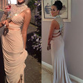 New Design Custom Made Champagne Celebrity Dresses 2017 Crystal Beaded Chiffon Long Mermaid Shining Costume Made Slim Sexy Gown