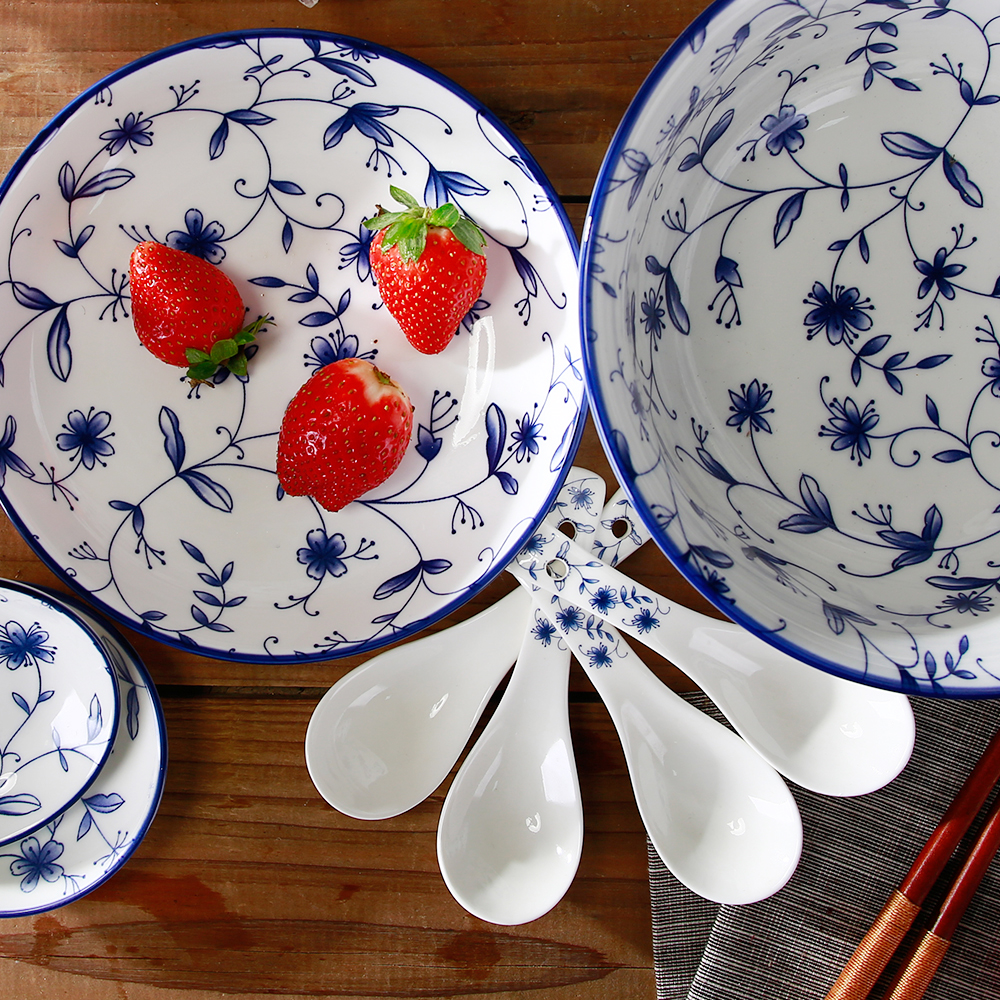 Best Bulk Blue and White Ceramic Kitchen Dinnerware Big Noodle Soup Bowl Plate Dish Spoon Dinner Set Tableware Set Dishware-in Dishes \u0026 Plates from Home ... & Best Bulk Blue and White Ceramic Kitchen Dinnerware Big Noodle Soup ...