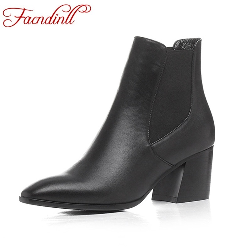 FACNDINLL genuine leather women shoes ankle boots fashion square heels pointed toe black shoes woman autumn winter riding boots facndinll women genuine leather ankle boots black red fur leather high heels pointed toe shoes woman autumn winetr riding boots