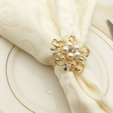 12PCS metal napkin ring European pearl flower