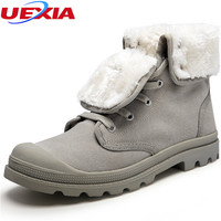 Unisex Warm Winter Snow Boots Men Shoes Couple Fashion Casual Canvas Rubber With Fur Ankle Boots