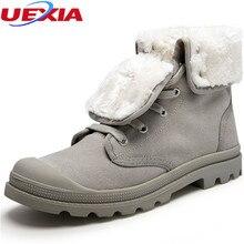 Unisex Caliente del Invierno de la Nieve Botas Hombre Zapatos Pareja Moda Casual de Goma de la lona Con Botines de Piel Zapatos Hombre Calzado Tamaño 35-44
