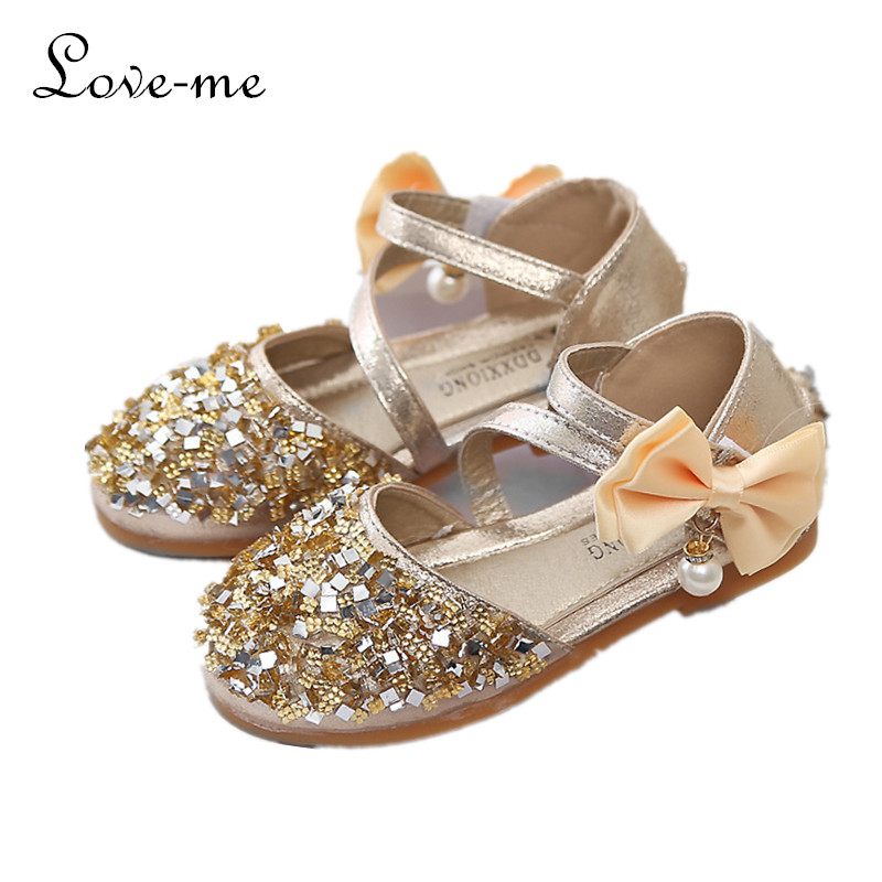 cc9d83b58df60c Girls Rhinestone Glitter Princess flat dance shoes with bowknot fashion  sequins party sandals for spring and summer size 21-36
