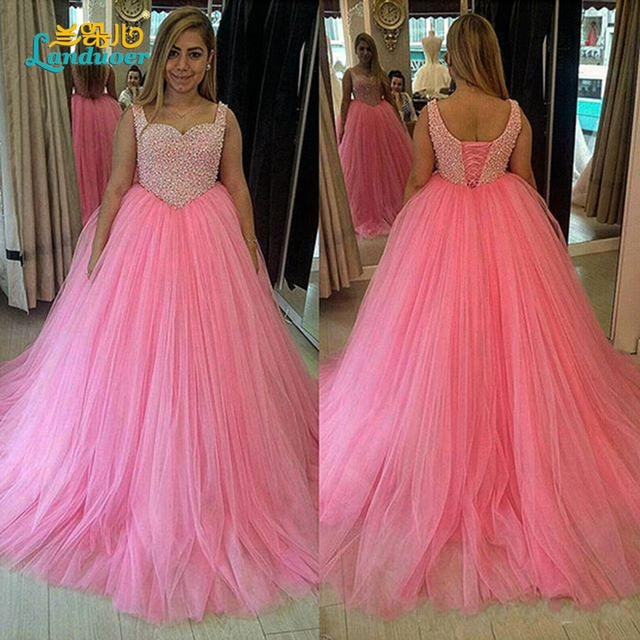 Lovely Pink Ball Gown Prom Dresses 2016 Fluffy puffy Sweetheart cap sleeve  Heavy Beads Long Prom Dress With Lace Up Back 13a930f95692