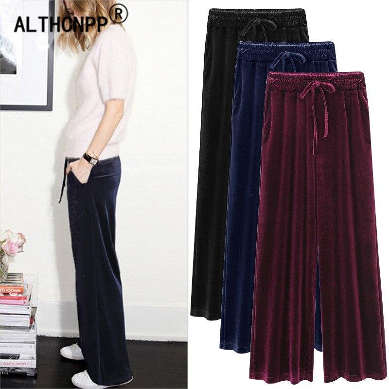 M-6XL Plus Size Women   Pants   Female Gold Velvet   Pants   Casual Loose High Waist   Wide     Leg     Pants   Pantalon Femme Pantalones Mujer