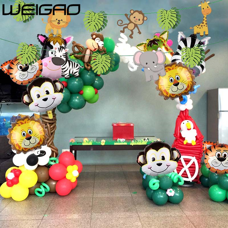 WEIGAO Jungle Party Happy Birthday Banner Garland Animal Number Digital Balloons First Baby Boy Birthday Party Decoration Kids