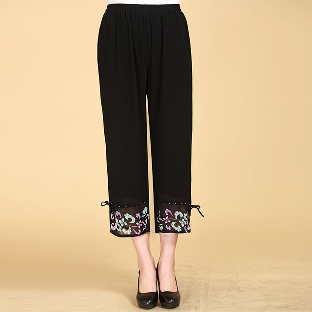Summer Chiffon 9 Capris Pants Quinquagenarian Elastic Waist Causal Pants The elderly Black Color Loose Straight Pant Capris 4XL