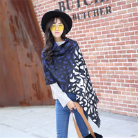 Winter Stone Leopard Grain Horse Print Winter Black Blanket Scarf Big Size Wool Scarf Women Wholesale