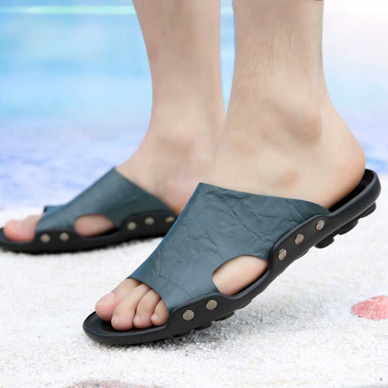 f68734dc9 Men Slippers 2019 casual flat beach slippers men summer shoes Genuine  Leather sandals big size 38