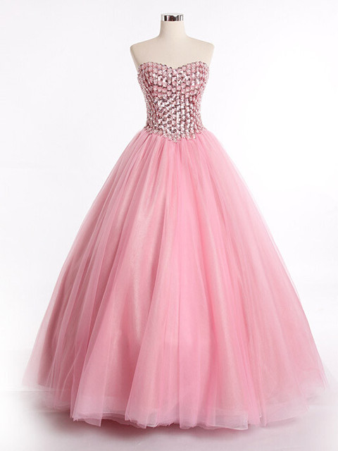 b9b9625a5b Pink Ball Gown Prom Dress with Rhinesonte Crystal Beaded Tulle Floor Length  Sweetheart Lace Up Long