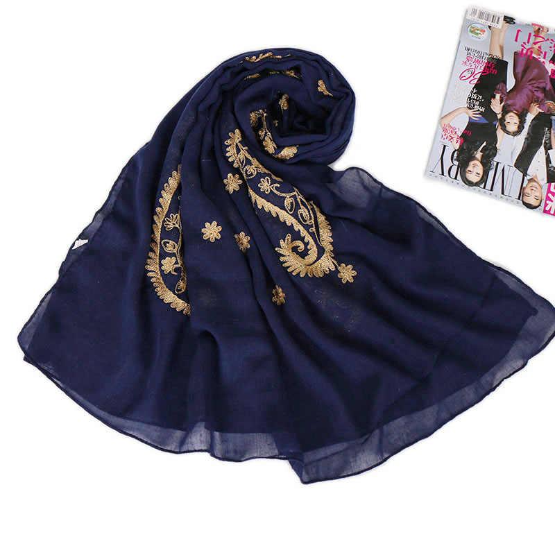 2019 зимний модный шарф Cashew с цветочной вискозой и шалью, Женская Высококачественная накидка, золотая нить, пашмины, Sjaal, мусульманский хиджаб