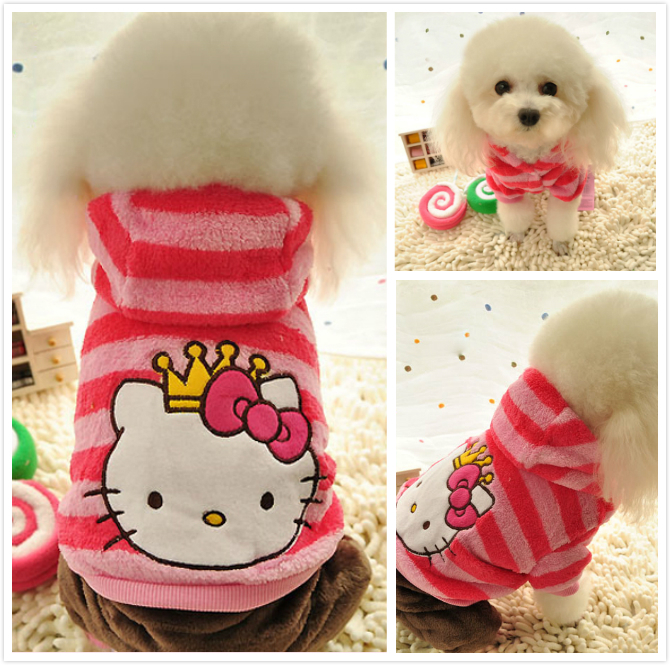 Winter Hello Kitty Dog Clothes fleece jumpsuit Pink dog striped hoodie coat jumpers Pet costume for small Medium dogs girls XS L-in Jumpsuits u0026 Rompers from ... & Winter Hello Kitty Dog Clothes fleece jumpsuit Pink dog striped ...