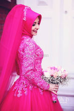 Oumeiya OW302 With Hijab Veil High Neck Long Sleeve Ball Gown Hot Pink Turkish Wedding Dresses 2015