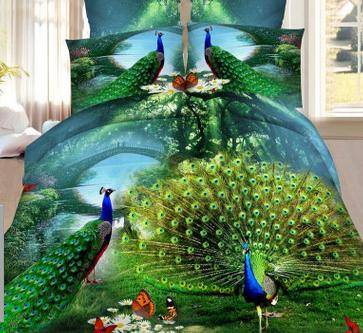 peacock Bedspreads Home Textiles 3D Bed cover King size beding duvet cover bed sheet pillowcase bedclothes bedding reactive(China)