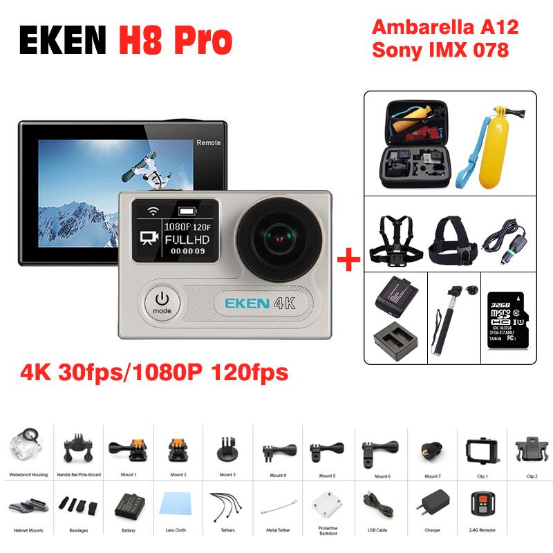 Prix pour D'origine eken H8 Pro d'action caméra 1080 p/120fps 4 K 30fps pro étanche H8Pro Ambarella A12 mini cam vélo vidéo go sports caméra