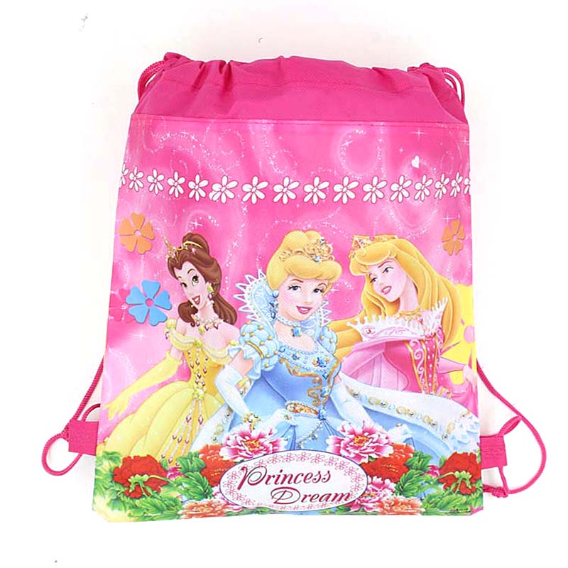1pc Disney Princess Kids Favors Baby Shower Non-Woven Backpack Drawstring Bags Birthday Party Decoration Supplies