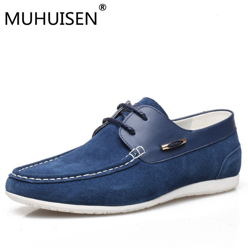 MUHUISEN Men's Casual Shoes Autumn Genuine Leather Shoes Men Loafers Moccasins Male Spring Cow Suede Driving Shoes dekabr new 2017 men cow suede loafers spring autumn genuine leather driving moccasins slip on men casual shoes big size 38 46