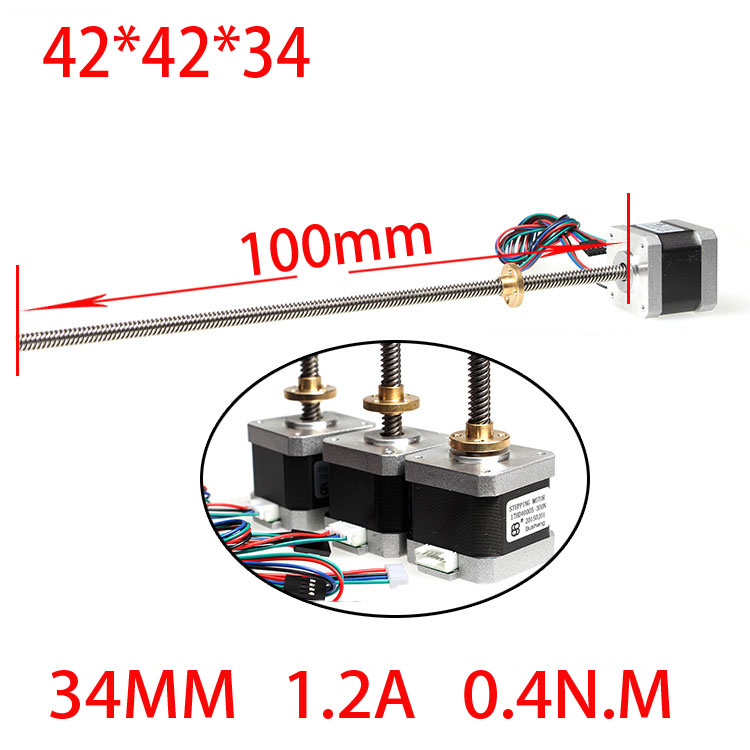 42 screw linear stepper motor drive robot 1.2A 34mm screw length 100mm 42bygh33 two phase 4 wire screw linear stepper motor drive screw length of 100