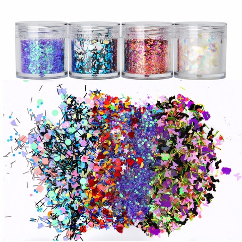 8 Boxes Mix Shape Colorful Holographic Nail Glitter Sequins 3D Glass Nail Art Foils Flakes Aurora Colorful Manicure Decoration Karachi