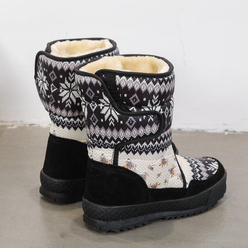 Image 2 - Printing nice winter warm shoes snowboot non slip Rubber outsole snowflake nice looking big plus size free shipping black flower-in Knee-High Boots from Shoes