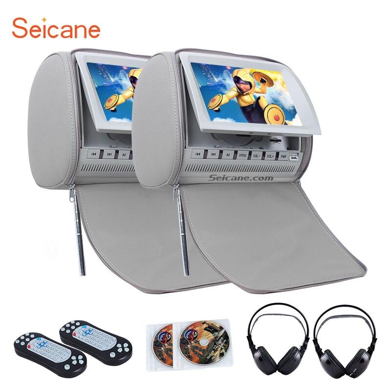 Seicane Appui-Tête DVD Lecteur 9 pouce 800*480 avec FM Jeux et la Couverture de Tirette (1 paire) avec 1 paire sans fil infrarouge écouteurs
