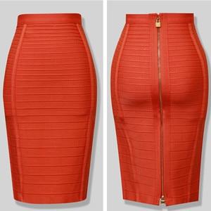Горячая 5 видов цветов красный синий черный HL знаменитости Bodycon колено длина бандажная юбка искусственный шелк облегающая юбка