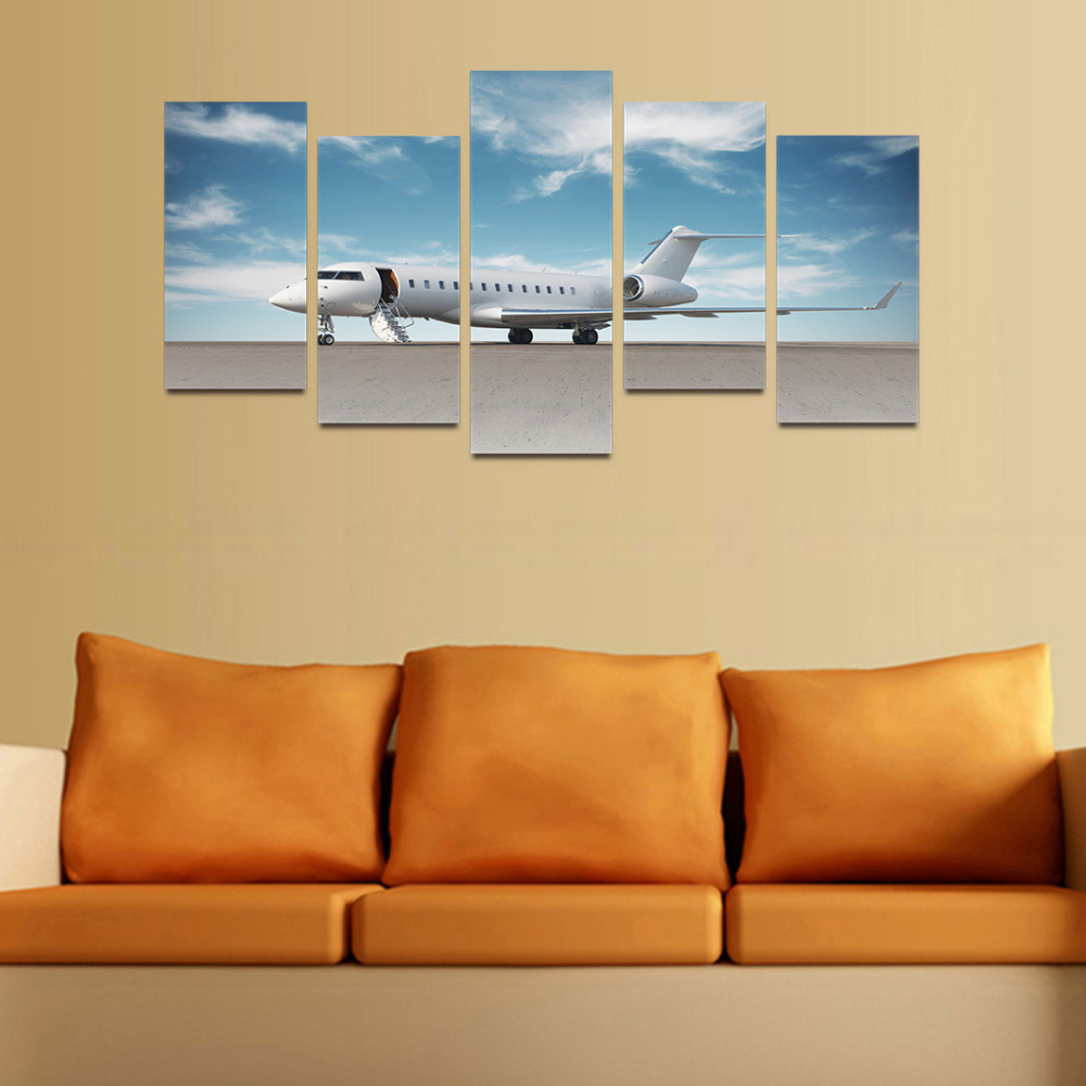 Original Oil Ink Canvas Print Airplane In Airport Painting On Canvas ...