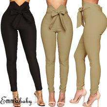 Sexy Women Slim Skinny Pants Stretch High Waist Belted Legging Ladies Casual Drawstring Elastic Long Pencil Trousers