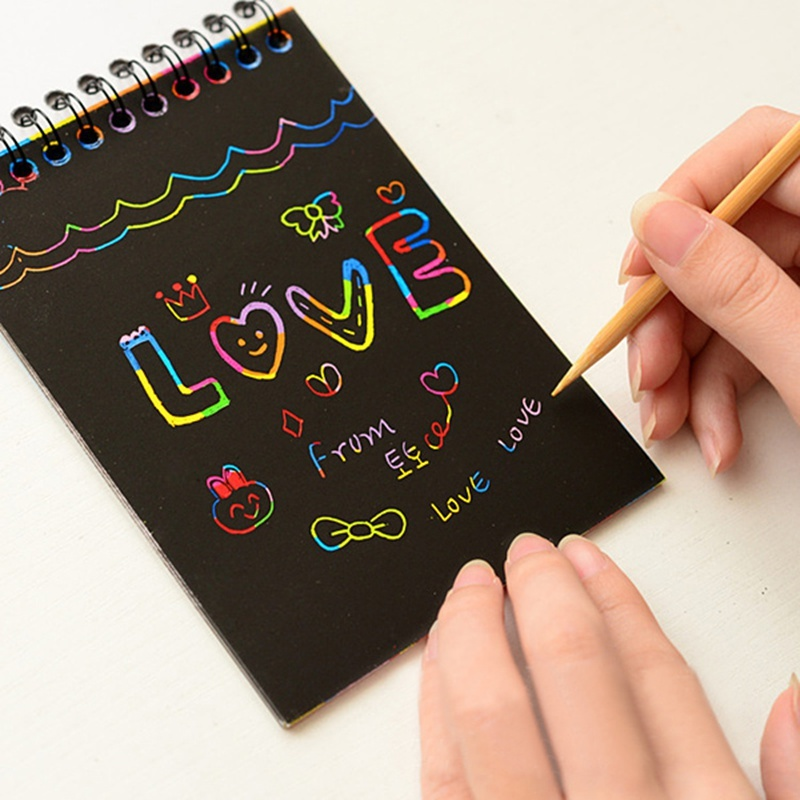 Writing Paper DIY Children Educational Toys New Fun Doodling Scratch Kids Graffiti Colorful Black Creative With Wood Stick