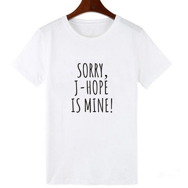 Lei SAGLY SORRY J-HOPE IS MINE Funny Women Summer Short Sleeve T Shirt Female Letter Print Casual White Black Streetwear T-shirt