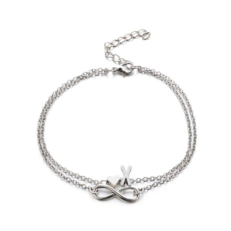 Donarsei A-Z Boho Double Layers Infinite Letter Anklet For Women Beach Silver Color Heart Ankle Bracelet Alphaet Foot Bracelet 5