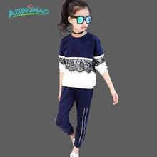 Aixinghao Enfants Vêtements Ensembles Pour Filles Sport Vêtements Marine Style Filles Tenues de Sport Adolescente Enfants Survêtements de Sport