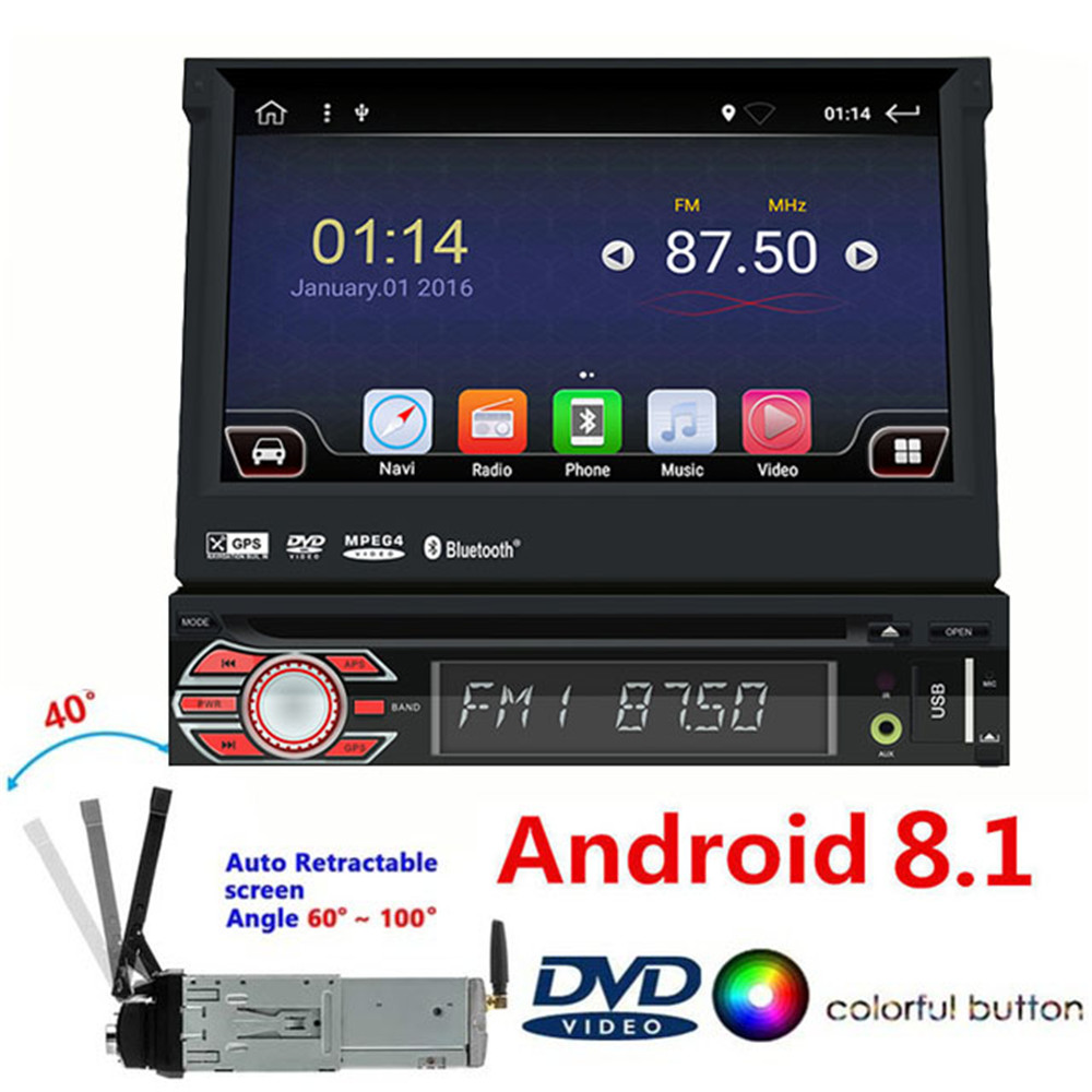 1din Android 8.1 Universal Car DVD Player 4G WIFI GPS Navigation Car Stereo Radio Audio Multimedia Player Steering Wheel