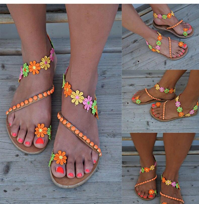 HTB1kkQ9NcfpK1RjSZFOq6y6nFXaZ Women Sandals Bohemia Style Summer Shoes For Women Flat Sandals Beach Shoes 2019 Flowers Flip Flops Plus Size Chaussures Femme